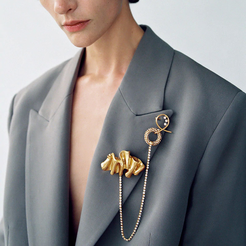 ZA для женщин длинное массивное золотистый металл со стразами цепи броши Новинка в винтажном стиле; С украшением в виде кристаллов сплава бу...