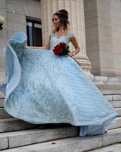 Image 5 - Klar Wasser Blau Hohe Kragen Prom Kleider 2019 Kurzarm Spitze Pailletten Brautkleider Design Real Photo DHM66981