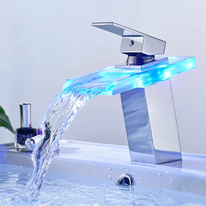 Led Basin Mixer Tap Brass Waterfall Taps For The Bathroom Temperature Discoloration Washbasin Faucet Light Sink Glass Water-Tap