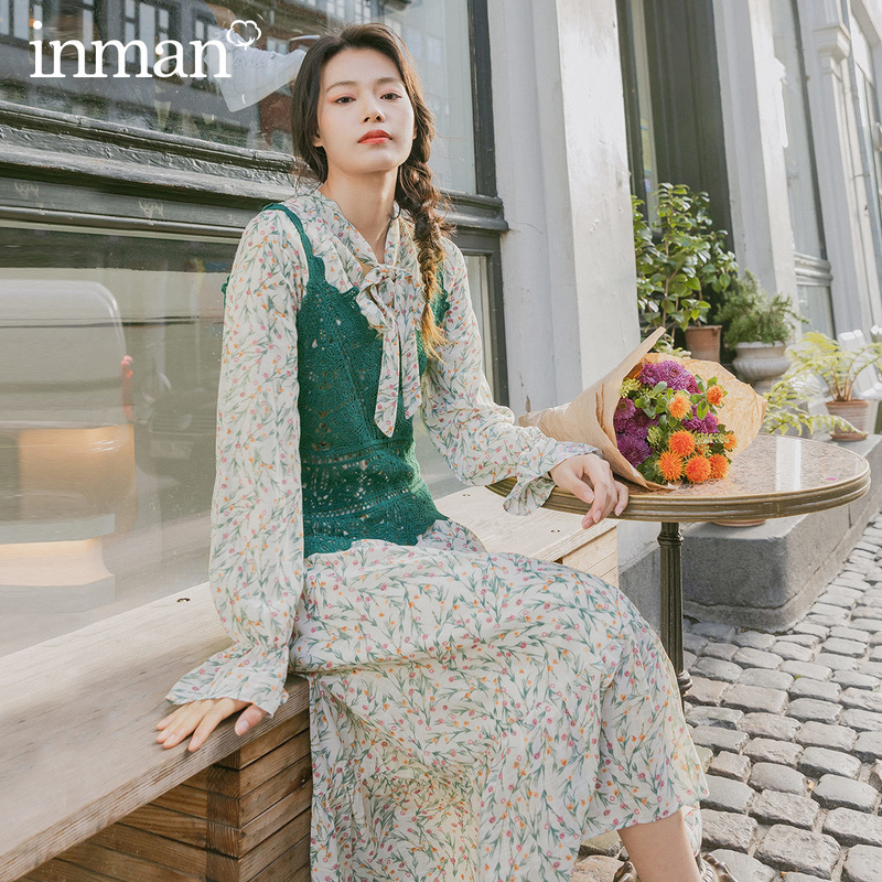 INMAN 2020 Spring New Arriavl Literary Hollow Out Waistcoat Sweet Printed Dress Two-piece Dress