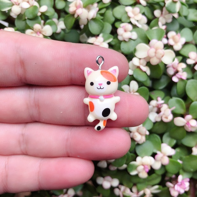 10pcs/pack Kawaii Cat Charms Pendants for Jewelry Making Animal Resin Charms Jewlery Findings DIY Craft 4