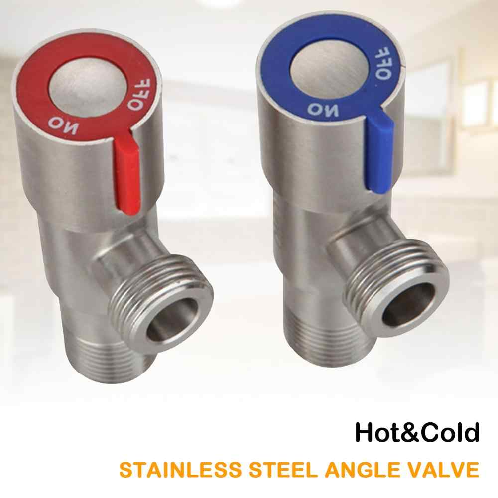Color : Cold valve steel Black And Blue Copper Bathroom Angle Stop Valve,for Toilet Toilet Kitchen Sink Shower Flow Control Valve