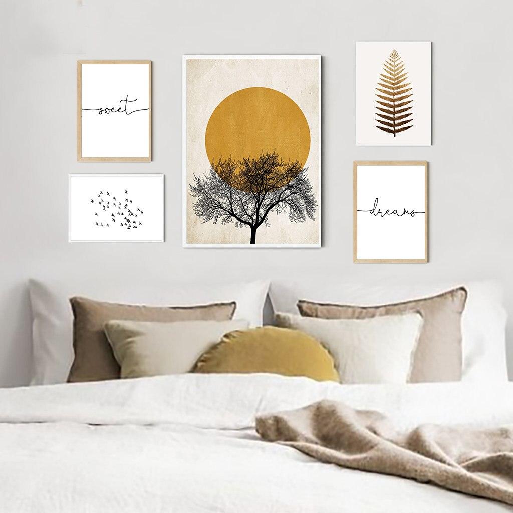 Morgen Sonne Baum Abstrakte Poster Nordic Drucken Skandinavischen Wand Kunst Bild Süße Traum Leinwand Malerei Einfachheit Wohnkultur