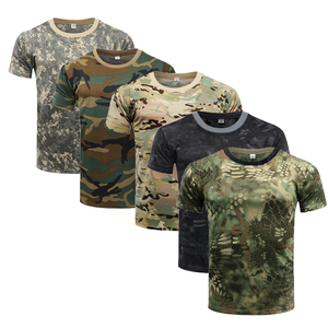 Quick Dry Camouflage T Shirt Summer Men's T-shirt Short Sleeve Tee Tops Outdoor Military Tactical Combat Fitness Hiking T-Shirt
