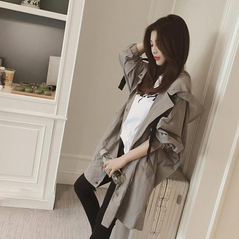Spring Autumn Hooded Women Long Sleeve Solid Color Coats Female Girls Fashion Leisure Windcoat Size M-3XL