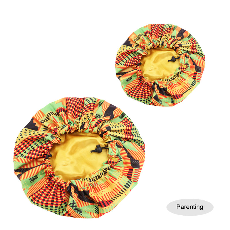 2pcs/set Parent Child Bonnet Hat African Pattern Print Fabric Ankara Bonnet Sleep Turban Cap Women Hair Treatment Protect Hair
