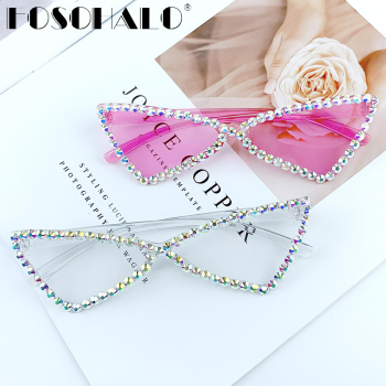 Sexy Cat Eye Sunglasses Women Rimless Vintage Rhinestone Sun Glasses Female Lady Candy Color 2021 Eyewear Triangle Shades UV400 1