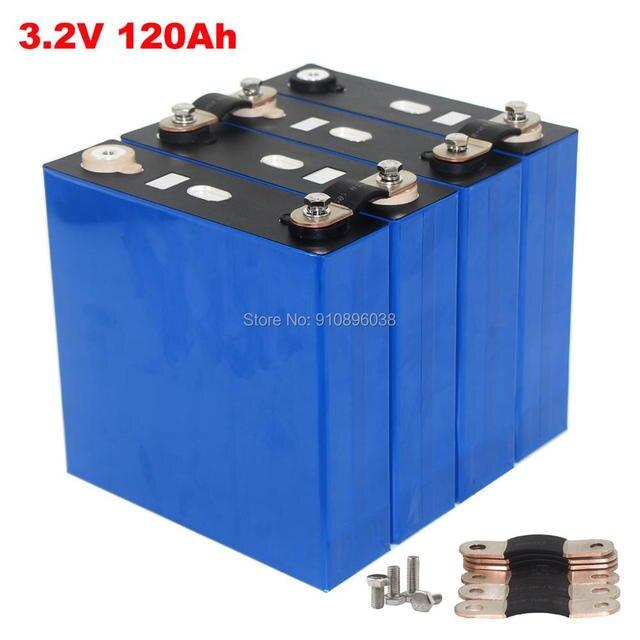 4PCS/LOT 3.2V 120Ah Grade A LiFePO4 Battery For 12V 1KW Solar Energy System