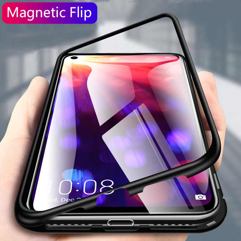 Magnetic Metal Adsorption Case For Xiaomi Redmi Note 8 7 K20 5 6 Pro Mi 9 8 SE 8 lite 9T Pro F1 Case Tempered Glass Magnet Cover