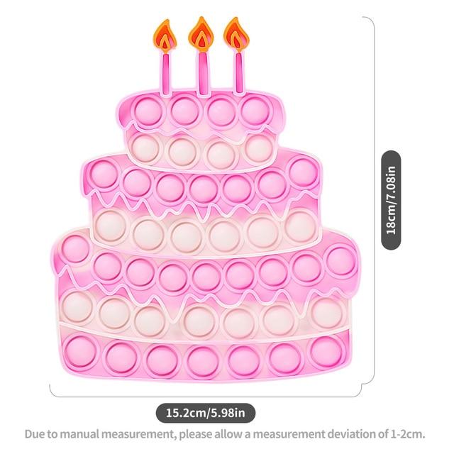 Happy Birthday Cake Food Fidget Toy Push Bubble Stress Sensory Toy 4
