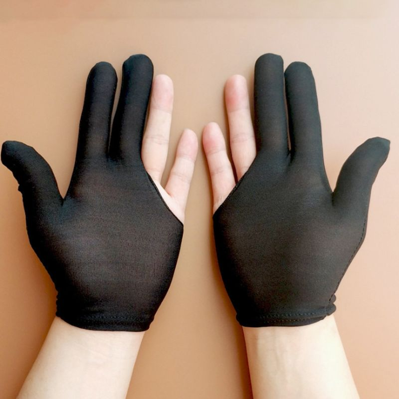 10 Pairs Adult Kids Unisex Elastic 3 Fingers Billiards Gloves Anti-Sweat Mittens