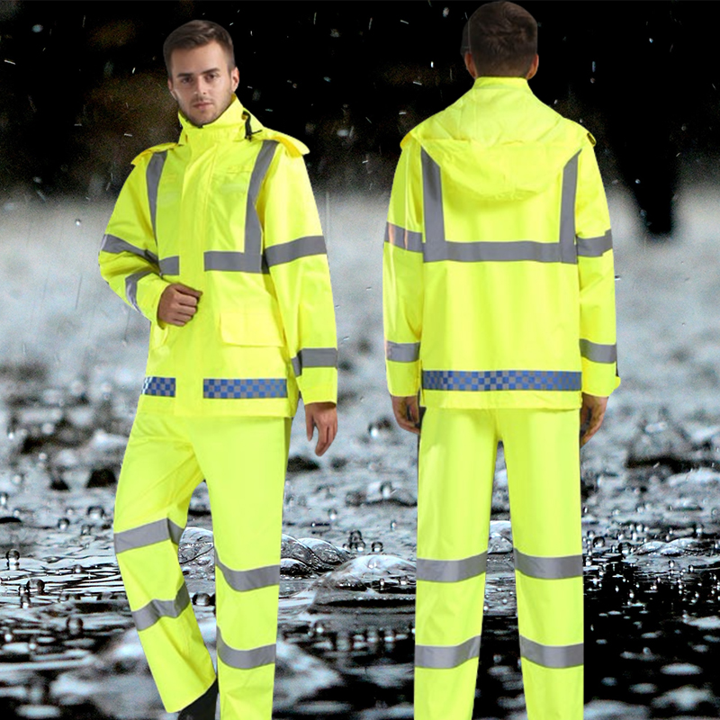 1Set Reflective Safety Workwear Safety Protective Work Clothes Traffic Warning Raincoat Rain Pants Suit Working Outdoor Overalls