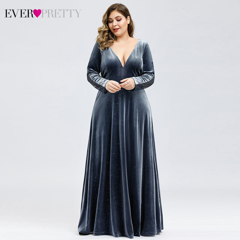 Plus Size Velour Evening Dresses Ever Pretty EP00870 A-Line Full Sleeve Deep V-Neck See-Through Lace Formal Dresses Abendkleider