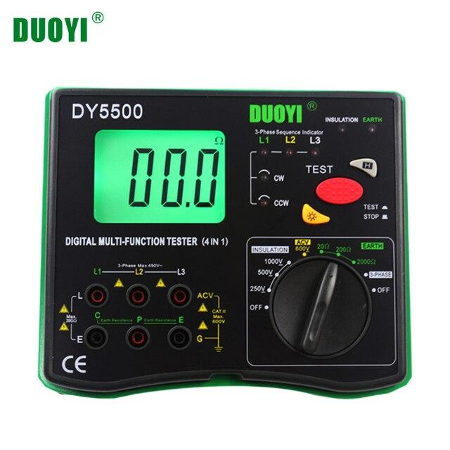 DUOYI DY5500 4 in1 Digitale Fluke Multifunzione Tester di Resistenza Multimetro di Isolamento Terra Voltmetro Misurazione Indicatore di Fase