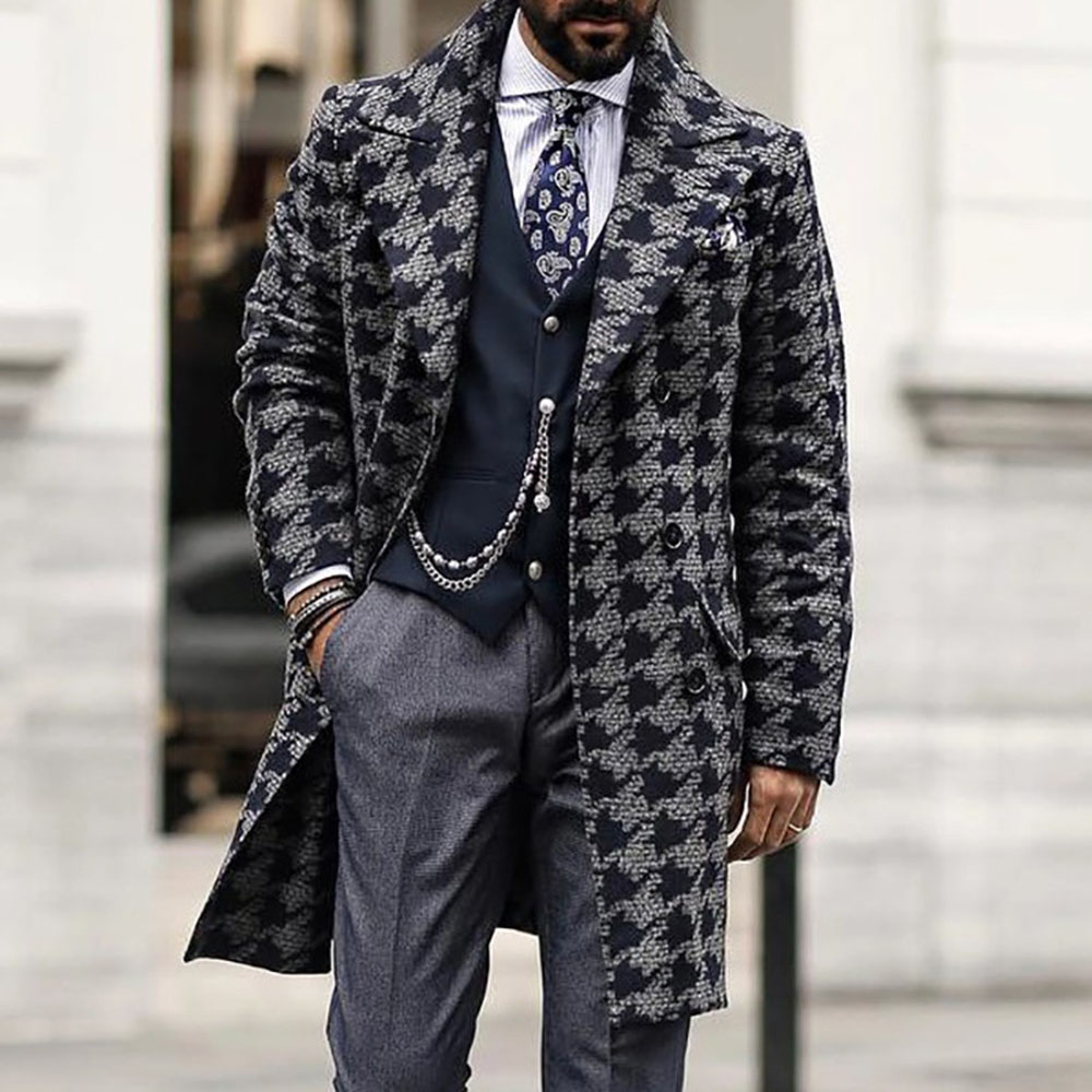 Coat Men Winter New Wool Blend Coats Men Quality Brand Men's Fashion Street Casual Wool Overcoat Long Section Wool Coat Male