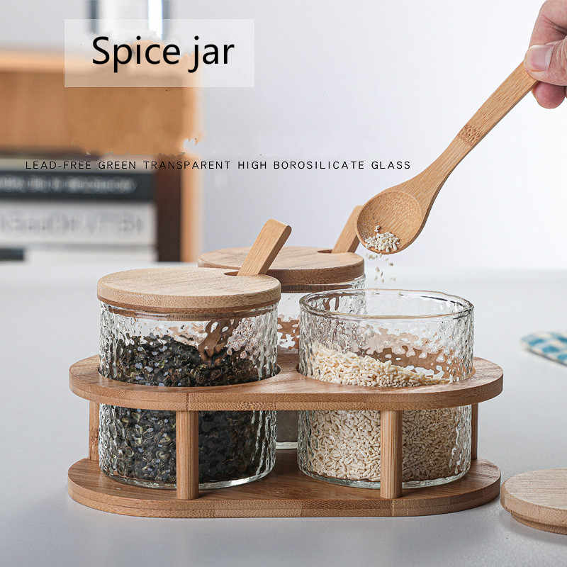 WOODEN SPICE CONTAINER JAPAN KITCHEN SEASONING SALT JAR SPOON LID STORAGE