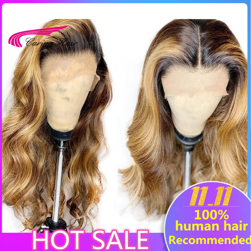 Carina Brazilian Body Wave 13X6 Lace Front Human Hair Wigs PrePlucked Honey Blonde Remy Ombre Color Innrech Market.com