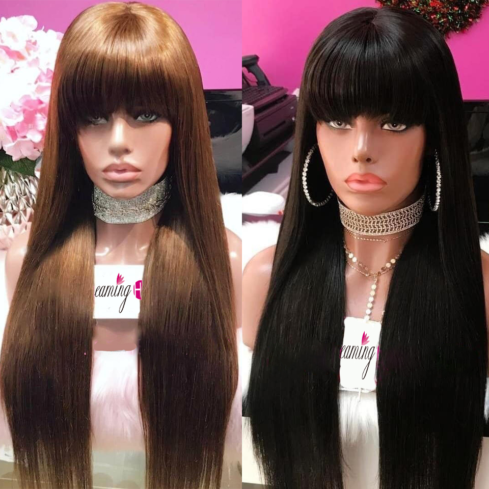 13X6 Deep Part 180% Lace Front Wig With Bang Full End Frontal Closure Wig Remy Straight Human Hair Brazilian Wigs For Women