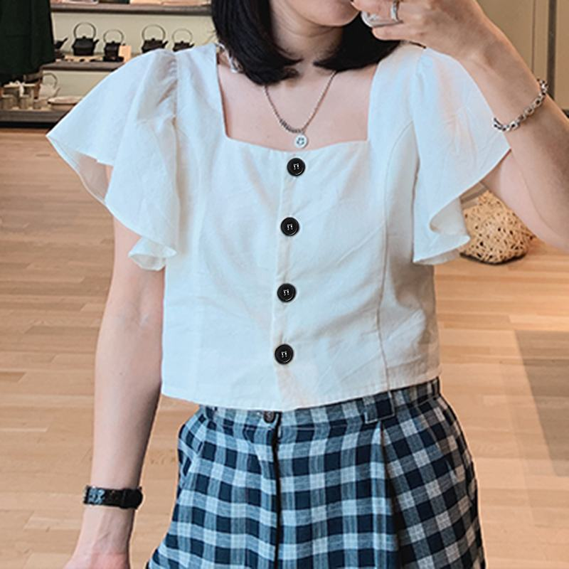 Elegant Women's Summer Blouses Celmia 2020 Fashion Short Sleeve Ruffled Shirts Sexy Square Neck Casual Tops Buttons OL Blusas 7