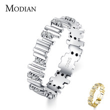 Modian anéis de prata irregular linha geométrica arte dedo anéis para mulher genuína 925 prata esterlina jóias finas 2021 novo design