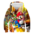 Kids Super Mario Sweatshirt Fashion Casual 3D Boys Girls Cartoon Fun Comic Hoodie Tops Kids Pullover Baby Gifts