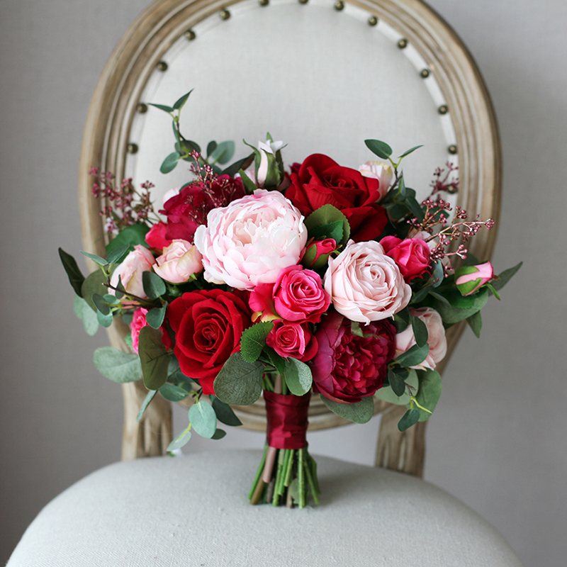HIMSTORY Romantic Red Wedding Bride Bouquet Silk Roses Bridal Holding Bouquets Burgundy Pink Artificial Flowers Bouquet Mariage