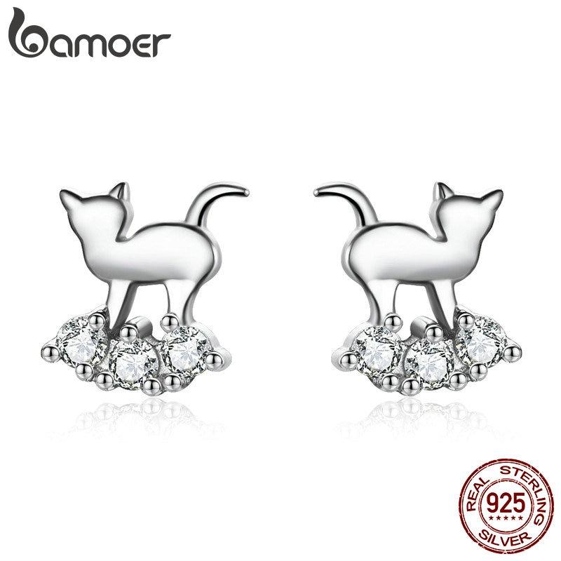 BAMOER Hot Sale 925 Sterling Silver Crystal Cat Animal Earrings Stud For Women Clear CZ Sterling Silver Jewelry SCE537