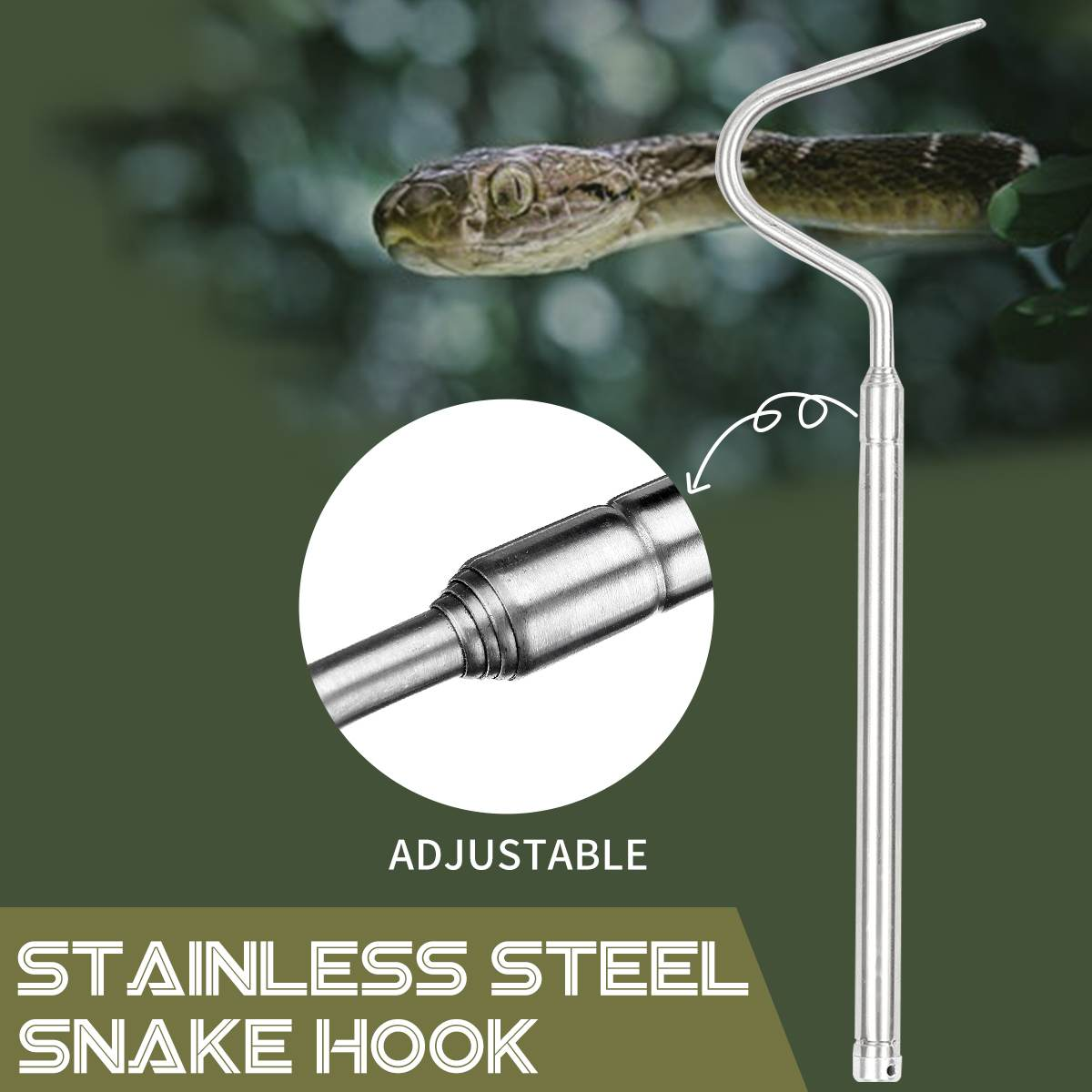 Durable Telescopic Reptile Snake Tongs Stick Snake Catcher Snake Clamp Grabber Wide Jaw Tongs Tool Heavy Duty Stainless Steel