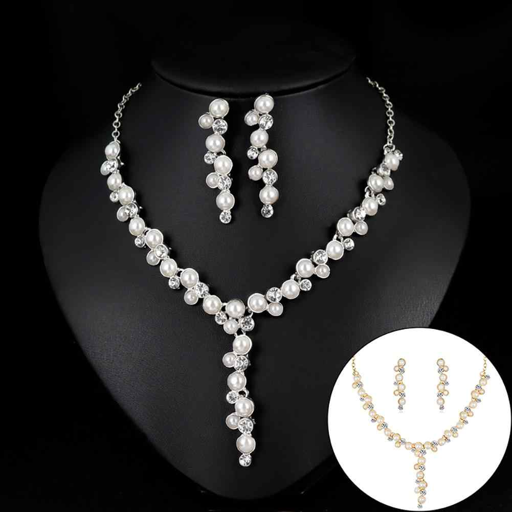 Women Bride Rhinestone Faux Pearl Necklace Earrings Wedding Banquet Jewelry Set New Chic
