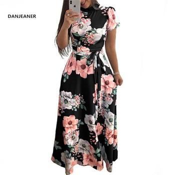 DANJEANER Women Summer Dress 2019 Casual Short Sleeve Long Dress Boho Floral Print Maxi Dress Turtleneck Bandage Elegant Dress цена 2017