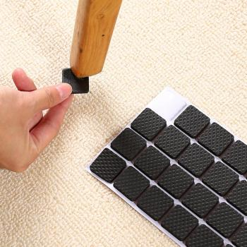 48pcs/set table rubber foot anti-slip mat square  round sofa chair leg sticky pad black non-slip self-adhesive furniture leg pad desk feet cover noise avoiding non slip mat furnishing non slip mat thicken protecting pad self adhesive for home office