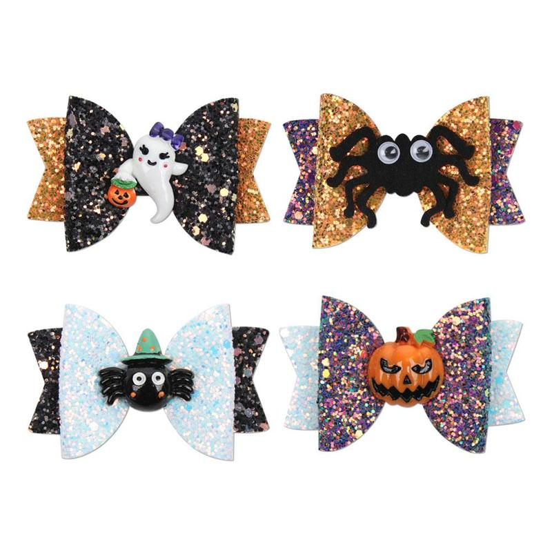Hair-Clips Halloween Barrettes Glitter for Gilrs with Pumpkin Dance Party Gifts