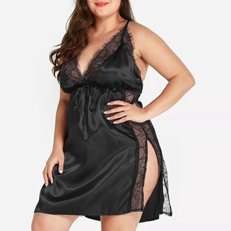 Women Sexy Nightwear Plus Size S-XL Lace Nightgown Sleepwear Dress Split Sexy Lingerie Robe