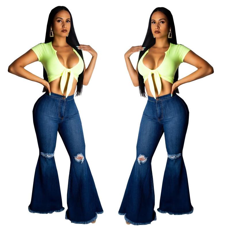 Woman High Waist Jeans Retro Flare Pants European Style Denim Trouser Plus Size Jeans Woman