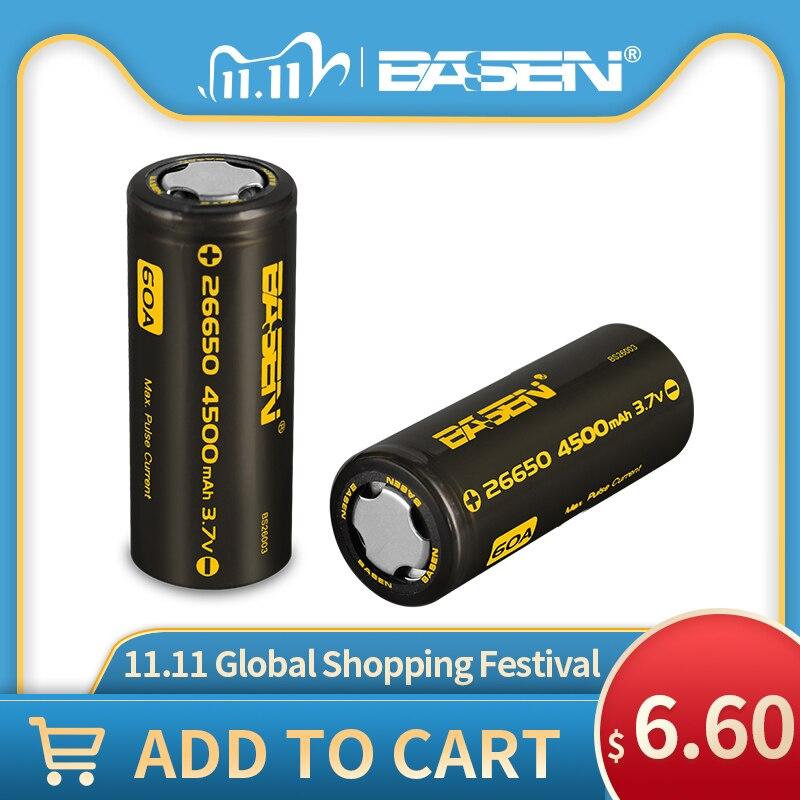 Аккумулятор BASEN BS26003 26650 литиевый, 3,7 в, 4500 мАч, 26650-60A