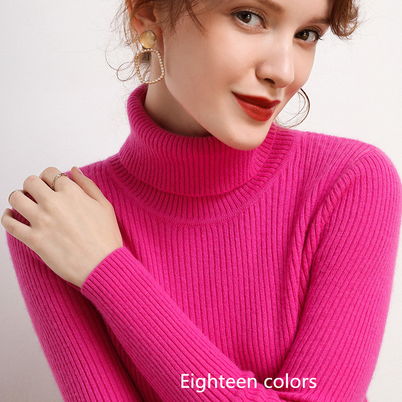 Winter Knitted Sweater 2020 New Arrival Women Cashmere Soft Sweaters And Pullovers High Quality Warm Turtleneck Pull Multicolor