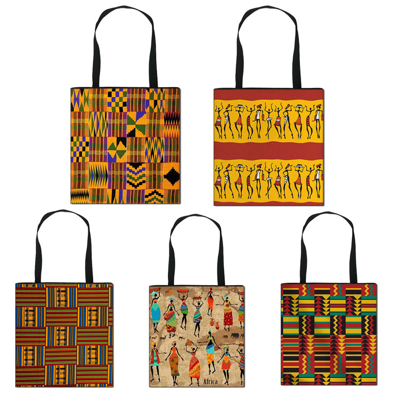 African Women Style Shopping Bag Latina Afro Ladies Traditional Printing Handle Bags for Females Handbag Girls Shoulder Tote Bag