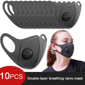 5/10pcs/Set Anti Dust Anti Air Pollution Mask Breath Valve Washable Reusable 3D Cover Face Earloop Breathable Mouth Mask Filter