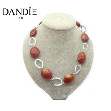 Dandie Trendy Oval Acrylic Bead Necklace, Short Jewelry For Women