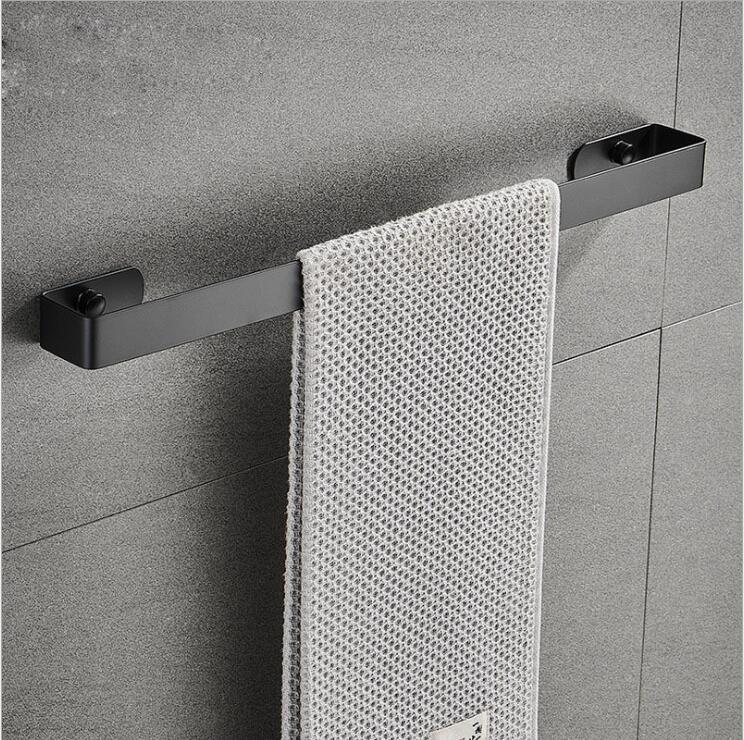 Nail-Free Toilet Towel Rack 304 Stainless Steel Black Towel Bar Hanger  Bathroom Towel Holder Square Hardware Accessories