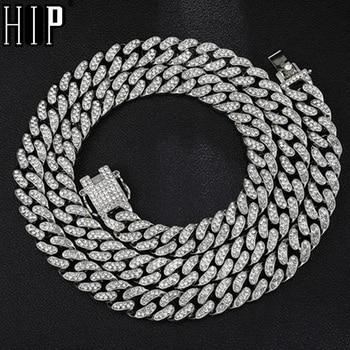 Hip Hop Voller Strass Iced Out Miami Curb Kubanischen Kette Halskette 50-75cm Länge Gold Gepflastert CZ Bling halsketten Für Männer Schmuck
