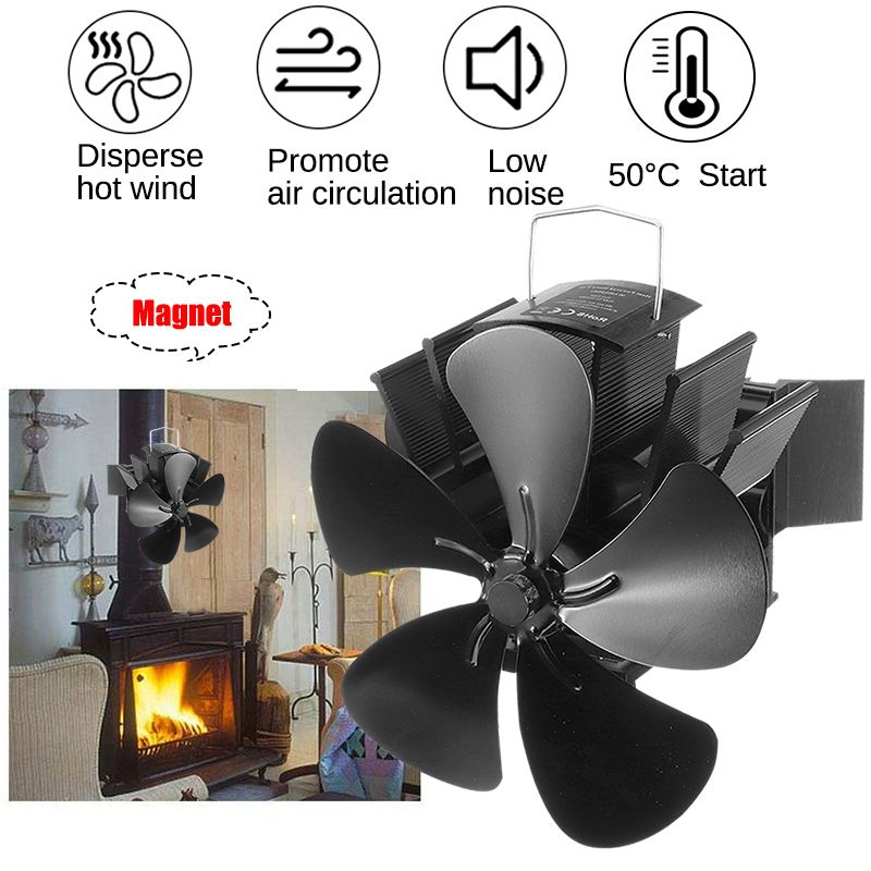 2020 Upgrade Black Fireplace 5 Blade Heat Powered Stove Fan Log Wood Burner Eco Friendly Quiet Home Efficient Heat Distribution
