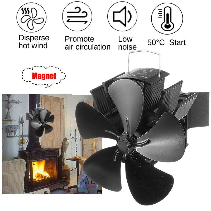 2020 Upgrade Black Fireplace 5 Blade Heat Powered Stove Fan Log Wood Burner Eco Friendly Quiet Home Efficient Heat Distribution