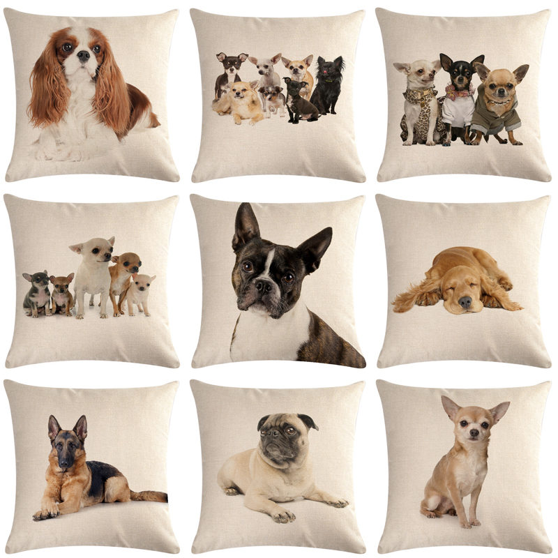 1 Pcs Pug Pet Dog Pattern Cotton Linen Throw Pillow Cushion Cover Car Home Sofa Bed Decorative Pillowcase Funda Cojin 40657