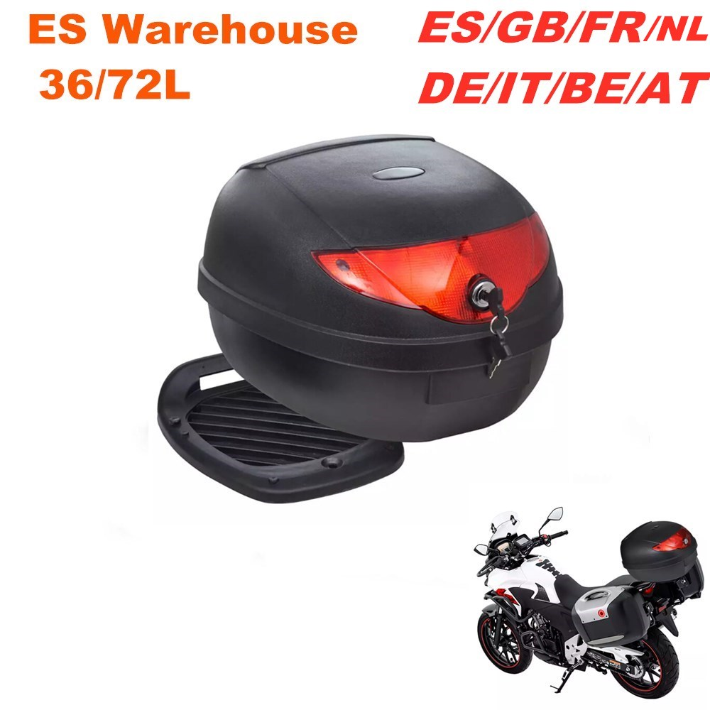 36L 72L Black Waterproof Motorcycle Trunk Moto Top Case For 1or 2 Helmet ES Warehouse