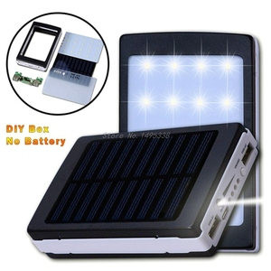 Image 2 - Portable 5x18650 5V 1A Power Bank Case 18650 Solar Power Bank Case DIY Box Dual USB Kit Phone Charger Case With Flashlight