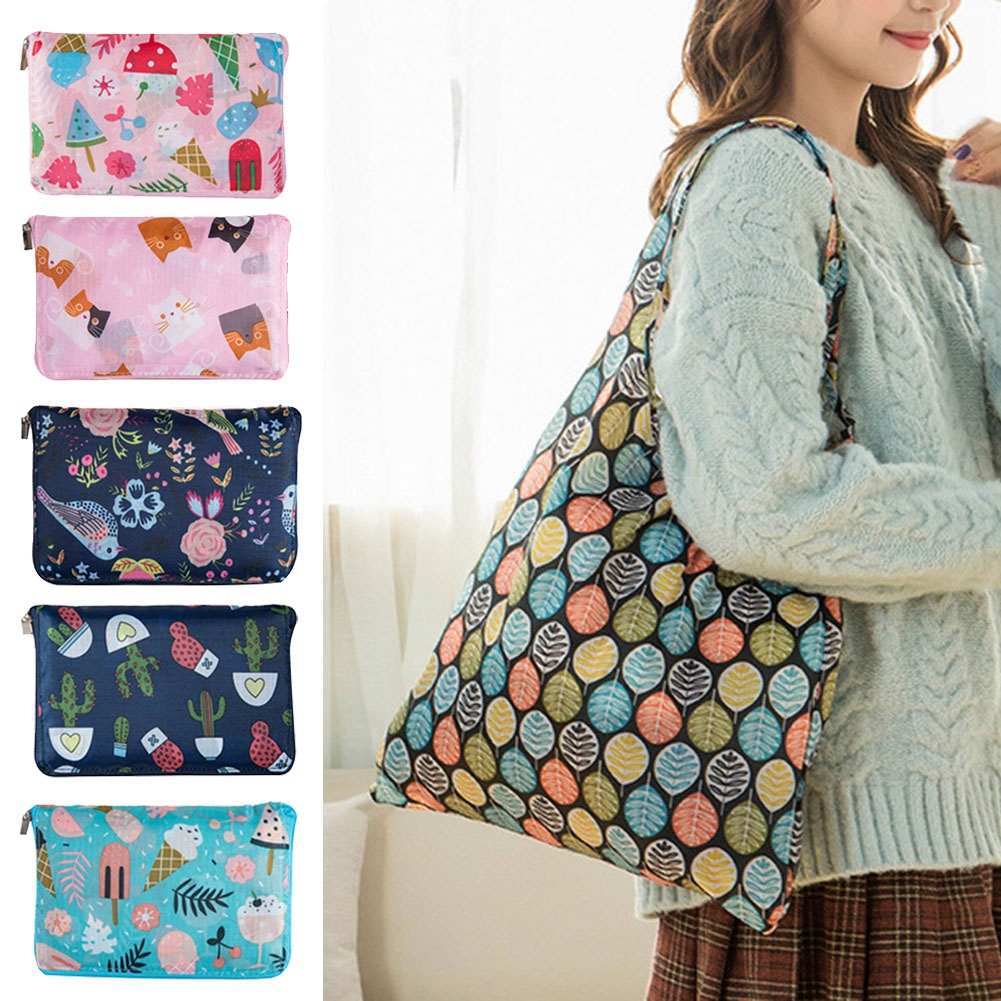 Newly Women Flower Foldable Shopping Bag Reusable Nylon Eco Tote Grocery Bag FIF66