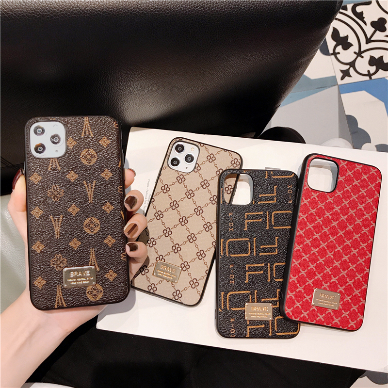 Luxury Brand Square Flower Hard leather Soft border phone case for iphone X XR XS MAX 7 8 6 6s S plus 7plus 10 11 Pro back cover