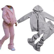 Solid Color Zipper Jogger Tracksuit Sweat Suit 2 Piece Sweatsuit Pants Set girls kids Jogging Track Suit