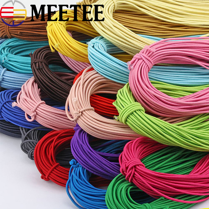 43Meter <font><b>2mm</b></font> Eco-Friendly Round Rubber <font><b>Elastic</b></font> <font><b>Cord</b></font> Stretch <font><b>Elastic</b></font> Bands Rope Jewelry Bracelets Making Garment Tag DIY Craft image